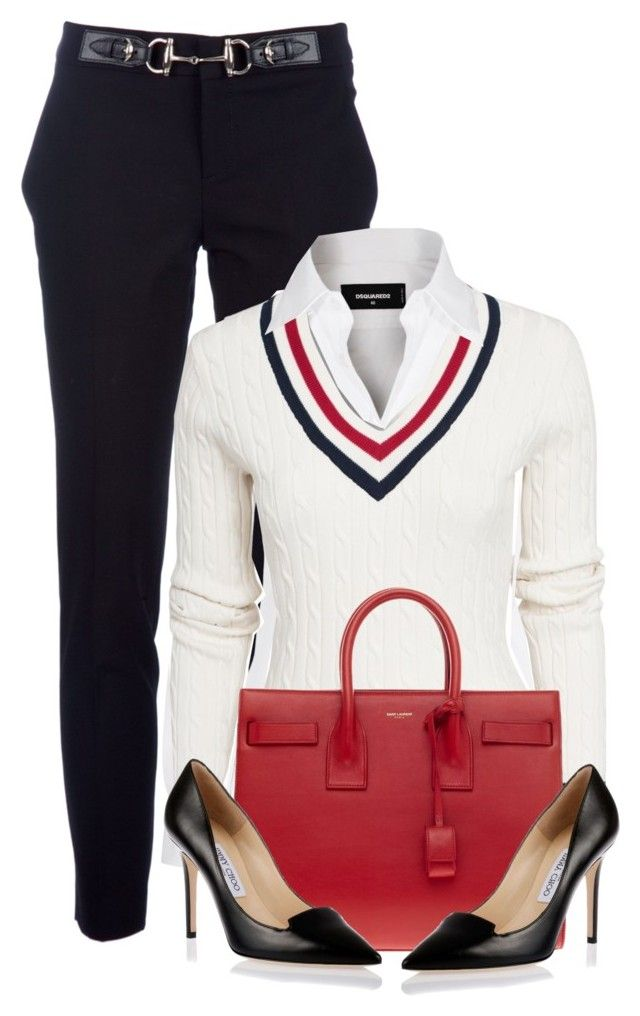 """""""Untitled #1142"""" by unagii ❤ liked on Polyvore featuring Gucci, Dsquared2, GANT, Yves Saint Laurent, Jimmy Choo, women's clothing, women, female, woman and misses"""