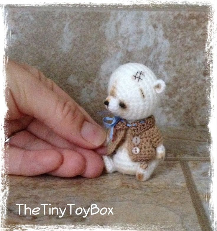 OOAK ARTist Miniature Bear / Doll Vintage Style by TheTinyToyBox Thread Crochet ☆