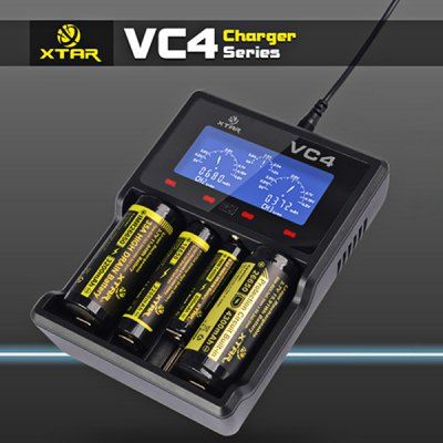 XTAR VC4 Universal 4 Channels LCD Ni - Mh Li - ion Battery Charger Compatible with USB / Wall Adapter-22.99 and Free Shipping  GearBest.com