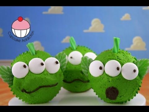 Toy Story Cupcakes - Make Toy Story Alien Cupcakes for Kids - Learn how to make these using our FREE online video tutorials. Visit YouTube channel MyCupcakeAddiction for these and lots more cupcake and cakepop decorating tutorials!