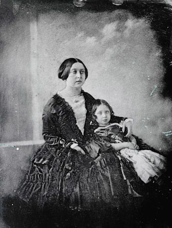 Daguerreotype of Queen Victoria and the Princess Royal c.1845. The daguerreotype was one of the first photographic processes, in which the image was made on a light-sensitive, silver-coated metallic plate.                   Supplied by Royal Collection Trust  © HM Queen Elizabeth II 2012  RCIN 2506821