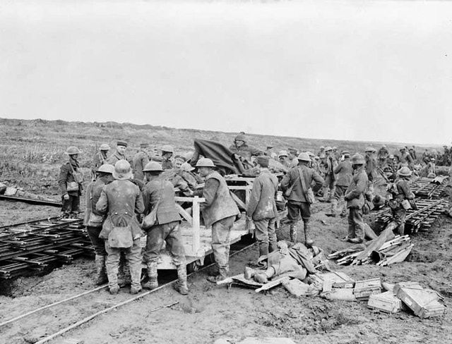 Chin Na & Monica (sec 3): Wounded Canadian soldiers being sent on light railway.