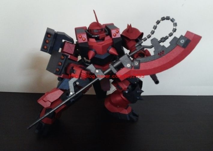 GPB-06F Super Custom Zaku F2000 is a custom model by noein, a Korean pepakura designer.   As far as I know this model, for this color is not sold by Bandai. I could be wrong though.