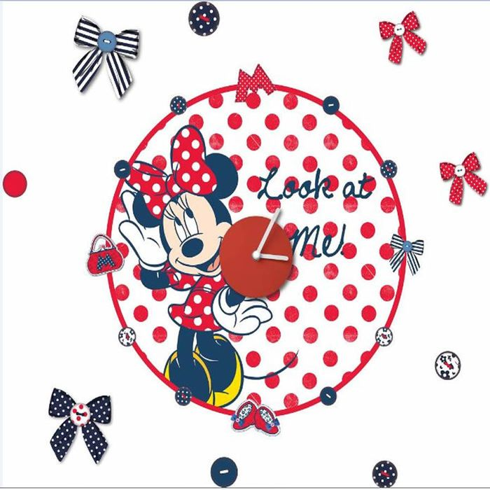 Minnie Mouse Clock | Children's Rooms > Mickey & Minnie Mouse > Minnie Mouse Sticker Clock