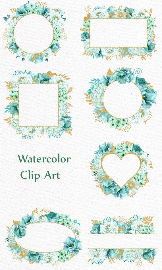 Fleur De Menthe Or Images Clipart Cadres Aquarelle Clipart