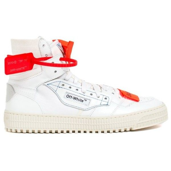 Off-White 'Court 3.0' Sneakers ($560) ❤ liked on Polyvore featuring men's fashion, men's shoes, men's sneakers, bianco, mens leather sneakers, mens leather high top sneakers, mens leather shoes, mens high top sneakers and mens high top shoes