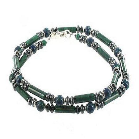 Malachite, Azurite Malachite, Hematite & Sterling Silver Beaded Mens Necklace
