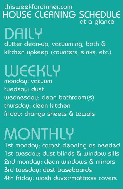 weekly house cleaning schedule from @Jane Maynard including free printable with 4-week plan #clean #organize