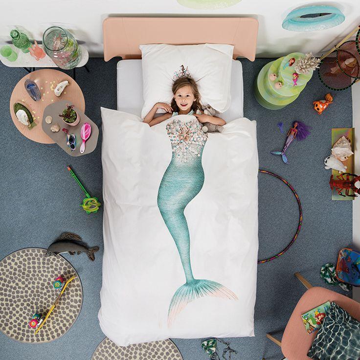 Zeemeermin Mermaid dekbedovertrek (1p) - SNURK https://www.livingdesign.be/nl/merken/snurk-beddengoed/kids