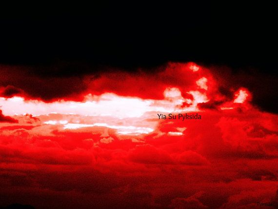 Instant Download 5jpg Red Sky Clouds Sun Fine Art by YiaSuPyksida, €2.50