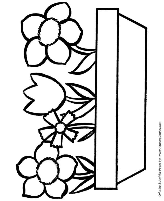Easy Coloring Pages For Simple Coloring Activity In 2020 Easy Coloring Pages Flower Coloring Pages Flower Printable