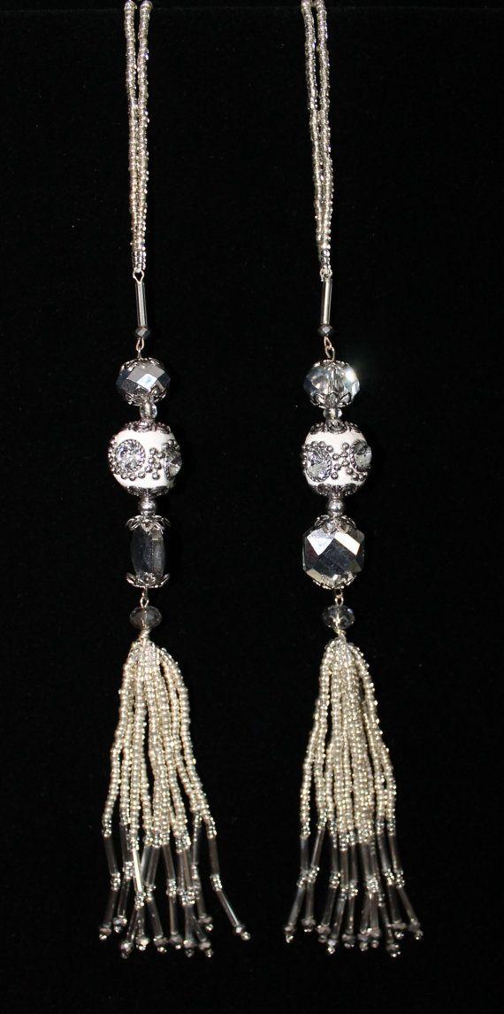 BEADED TASSELS White Mirror-studded beads home by GMBDesignsCustom, $29.00