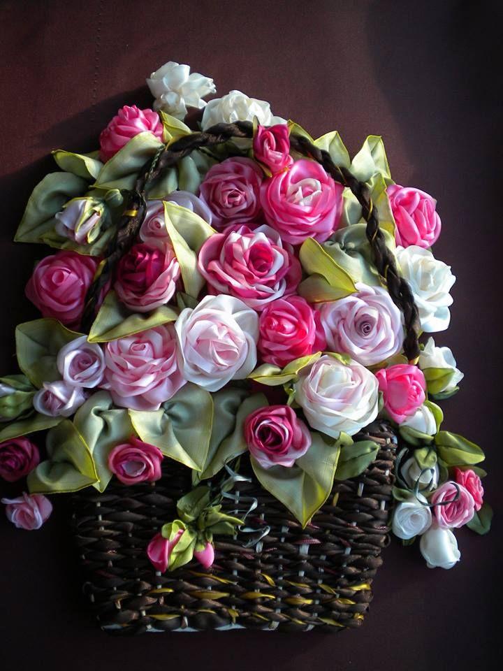 kurdel nakışı kasnak işi sepet çiçek