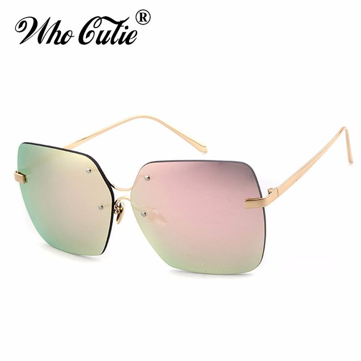 WHO CUTIE 2017 Oversized Big Square Futuristic Sunglasses Cool Retro Vintage Rimless Versae Sun Glasses Rays Shades oculos OM361