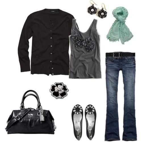 Style my-style: Fashion, Style, Dream Closet, Outfit, Gray, Fall Winter, Tank, Black