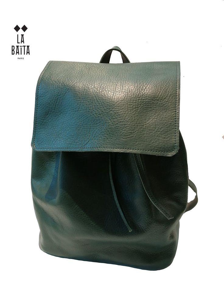 "sac à dos ""PAOLO""  en cuir mat vert anglais"