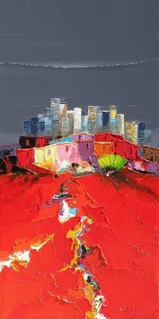 la ville nouvelle (Peinture), 60x30 cm par Christian Eurgal