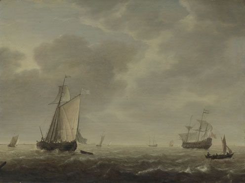 Simon de Vlieger: 'A Dutch Man-of-war and Various Vessels in a Breeze', 1640-5