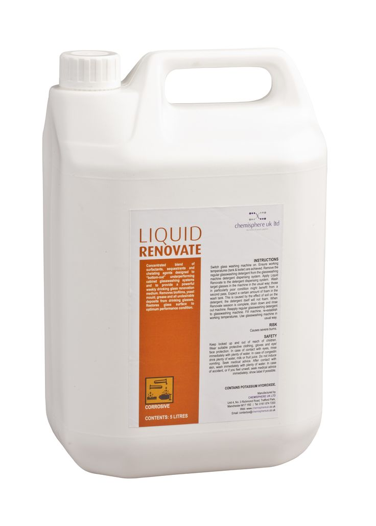 "Liquid Renovate is a highly concentrated blend of surfacants, sequestrates and chelating agents designed to ""bottom-out"" underperforming cabinet glasswashing systems and to provide a powerful weekly drinking glass renovation medium."