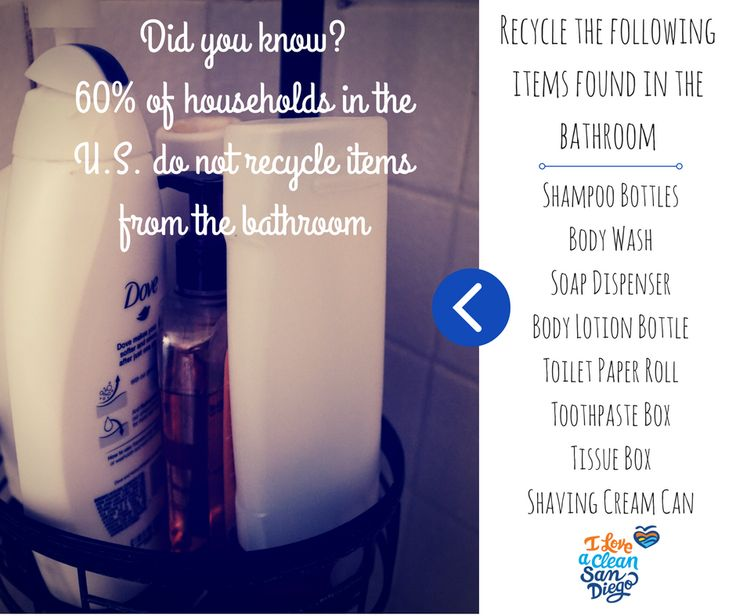 What makes recycling easy? Placing a recycling bin next to trash bins in the house, especially rooms that people aren't likely to recycle. Recycling in the bathroom is at an all time low. Recycle paper and plastic material commonly found in the bathroom and let us collectively increase the amount of bathroom recycling that occurs in the U.S.