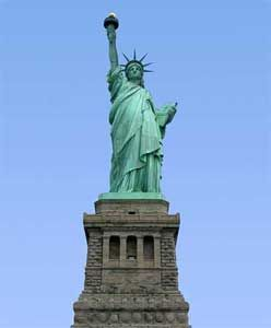 Saw her from a boat in New York Harbor & also as we walked across the Brooklyn Bridge 9-2010.  She is quite an impressive lady.