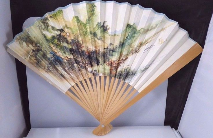 Vintage Oriental Scenic Folding Fan Paper Wood Hand Held Peoples Republic China