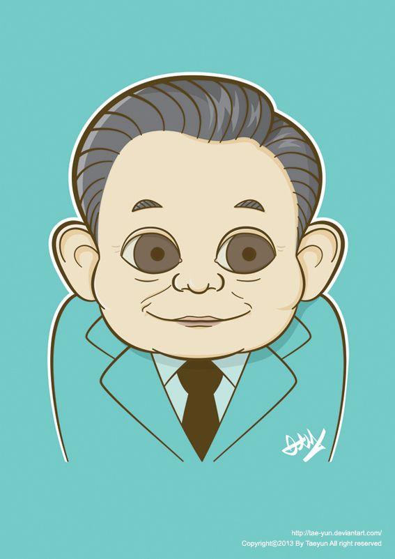 Lee Kun-hee caricature by Taeyun Ann, via Behance