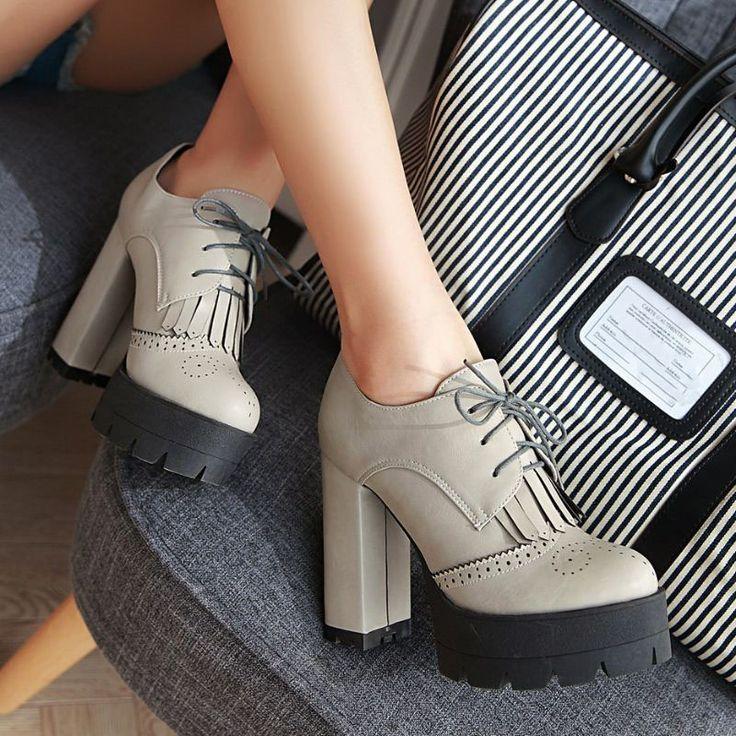 Aliexpress.com: Comprar Tamaño grande 34 43 Súper Moda Grueso Tacones Altos Plataforma Botines ata Para Arriba La Borla Botas de Mujer Zapatos de Mujer Otoño Invierno 3 Colores de el olor de zapatos fiable proveedores en Shop1737130 Store
