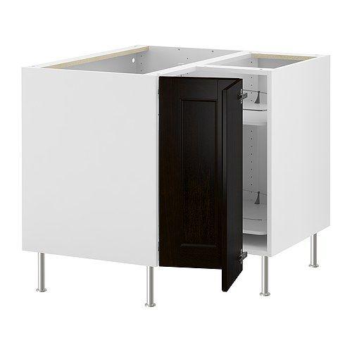 Kitchen: AKURUM Corner base cabinet with carousel - white, Ramsjö black-brown - IKEA