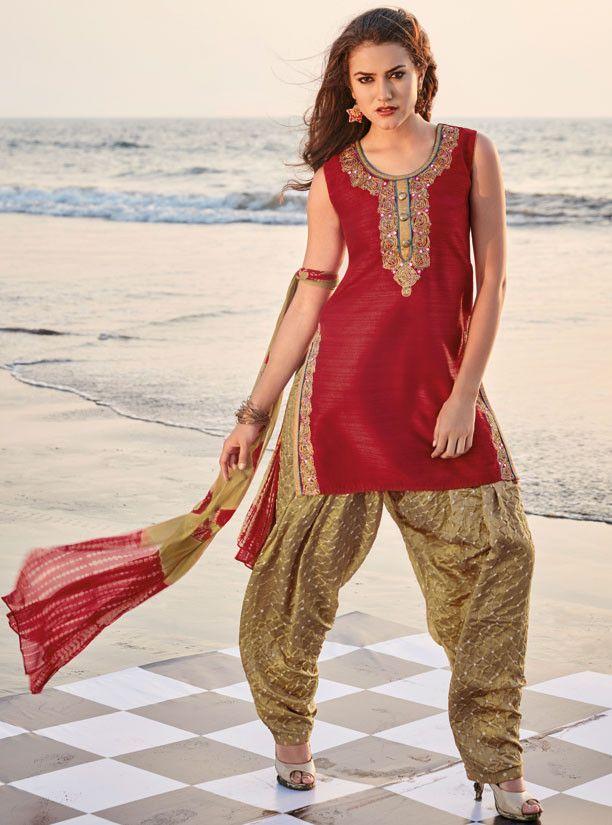 Rust Red Readymade Patiala Salwar Suit - Women
