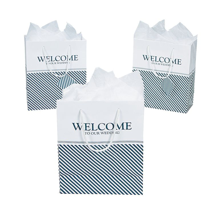 "Greet guests with welcome gifts! Each of your guests are sure to love the simple elegance of these Nautical ""Welcome"" Wedding Gift Bags. Each bag reads ""Welcome to our Wedding"" and is sure to match the nautical feel of your big day"