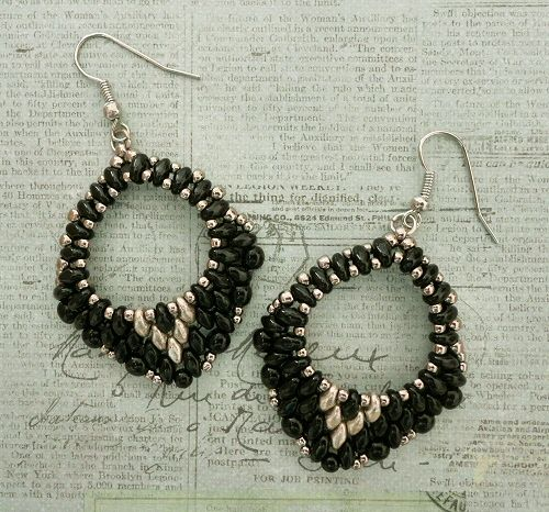 Linda's Crafty Inspirations: Mini Rondo Earrings - Jet with Gold & Silver