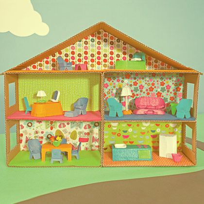 how to make a mini dollhouse out of cardboard