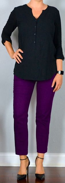 Outfit post: black button top, purple cropped ankle pants, black... | Outfit Posts | Bloglovin'