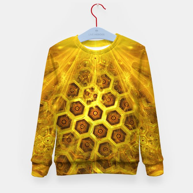 Golden Honeycombs Kid's Sweater, Live Heroes @liveheroes by @photography_art_decor. All product: https://liveheroes.com/en/brand/oksana-fineart #fashion #clothing #online #shop #gold #golden #honeycombs #honey #bee #summer #graphic #design #geometry #geometric #yellow #metalic #bright #shine #pattern #psychedelic #abstract #metalic #sun #abstract #briht #pattern  #trendy #stylish #fashionable #modern #awesome #amazing #clothes