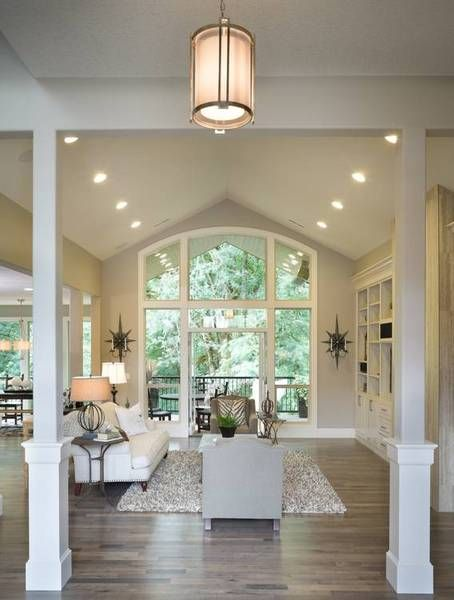 Vaulted Great Room of this beautiful multi-generational Craftsman style home featuring two master suites. House Plan No.326932 House Plans by WestHomePlanners.com