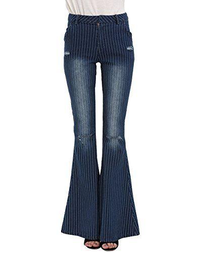 New Trending Denim: ZAFUL Womens Dark Blue Destructed Jeans High Waist Striped Flared Skinny Pants (L). ZAFUL Women's Dark Blue Destructed Jeans High Waist Striped Flared Skinny Pants (L)  Special Offer: $26.59  122 Reviews Details: -Material:Denim -Type:Vintage style jeans -Color:Dark blue -Popular Elements:Pinstripe, fading, destruction and flare design -Size:S M L XL...