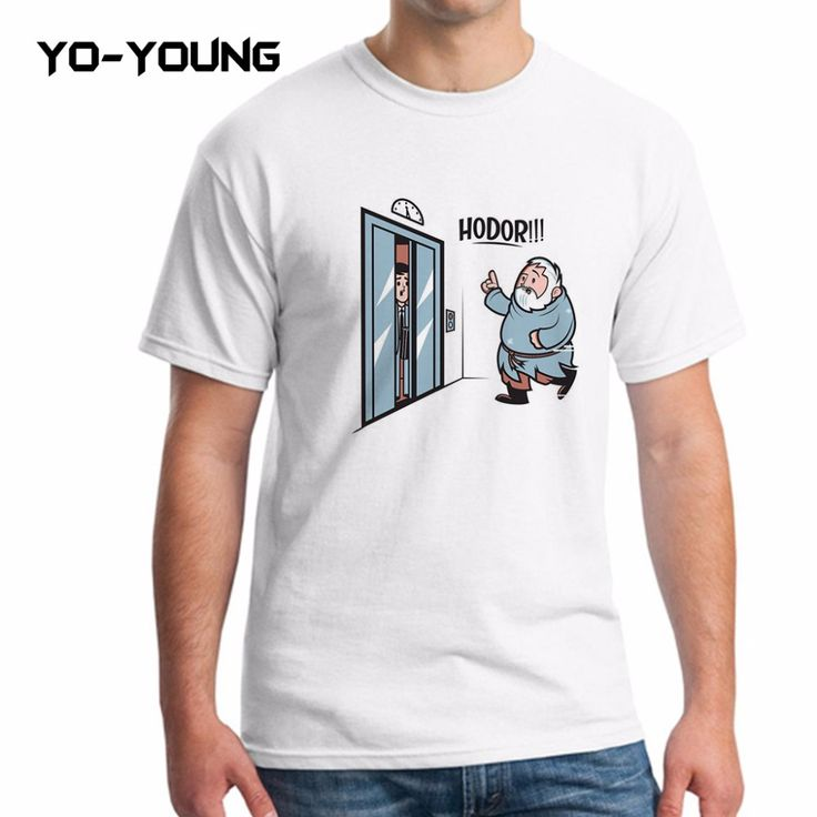 Yo-Young Men T Shirts Game Of Thrones Hodor Jon Snow Design Funny T-shirts For Men Digital Printed 100% 180g Combed Cotton