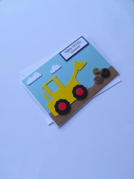 Handmade Digger Tractor Birthday Fathers Day Card Boys Etsy Fathers Day Crafts 1st Birthday Cards Handprint Art