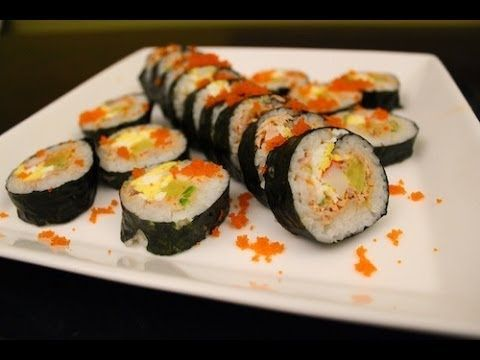 Tuna kimbap. 2 sheets seaweed, 1 can tuna, drained, 2c hot rice, 2 eggs, 2 sticks daikon, stick crap meat, 1/8c mayo, 1T masago, 1/2t soy sauce, 1/2 spicy green pepper. Process last 4 ingredients and mix with tuna. Scramble eggs and fry. Slice. Layer. Roll. Cut. Enjoy.