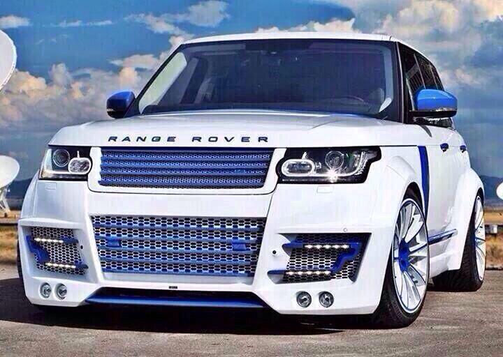 Captivating White Blue Range Rover