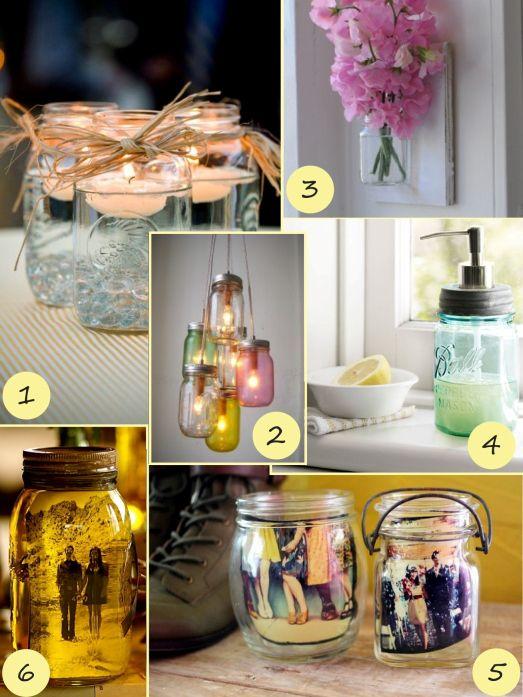 Mason Jar Decorating Ideas @Kiersti Orr Watt What To Do With All Those Jars!