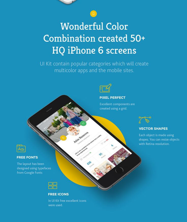 Wonderful Color Combination created 50+ HQ iPhone 6 screens. UI Kit contain popular categories which will create multicolor apps and the mobile sites.