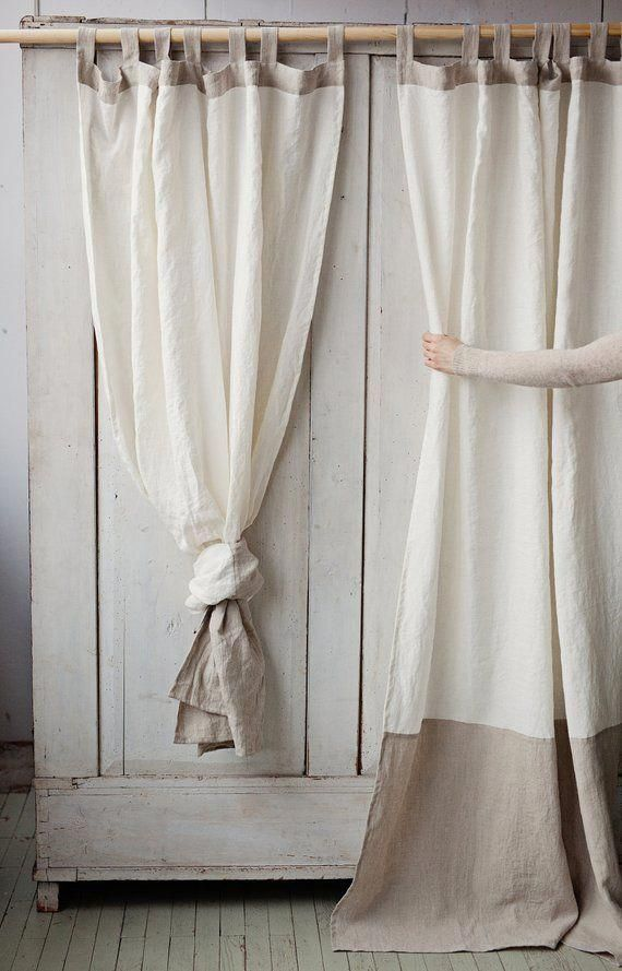 Tab Top Stonewashed Linen Curtain Custom Sewing