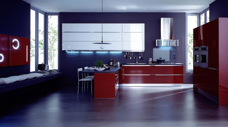 Modern Italian Kitchen Design With Blue Wall And Red Cabinet, Old Italian  Kitchen Design, Italian Kitchen Design Ideas ~ Home Design