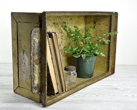 Vintage Stackable Metal Storage Bin / Industrial Crate / Industrial Storage. $48.00 from Haven Vintage