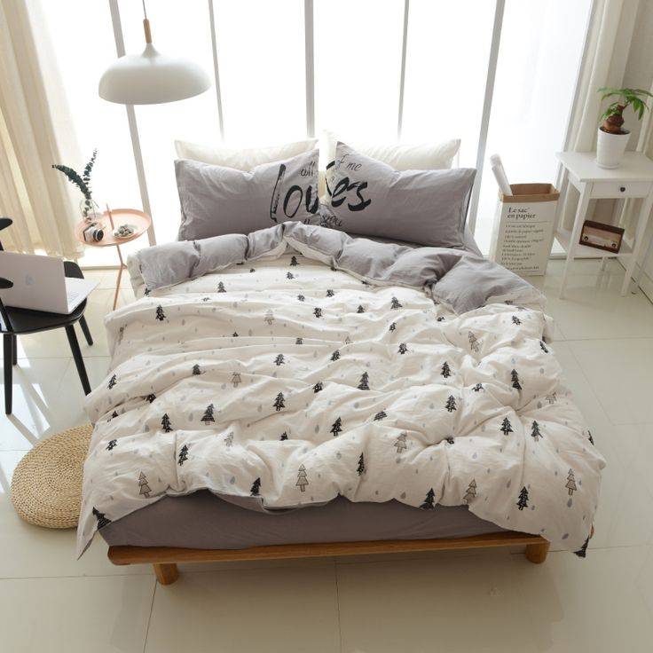 ==> [Free Shipping] Buy Best 4Pcs Quality Washed Cotton Scandinavian Style Trees White Grey Queen/King Size Bedding Linen Doona/Duvet/Quilt Cover set& Sheet Online with LOWEST Price | 32819584136