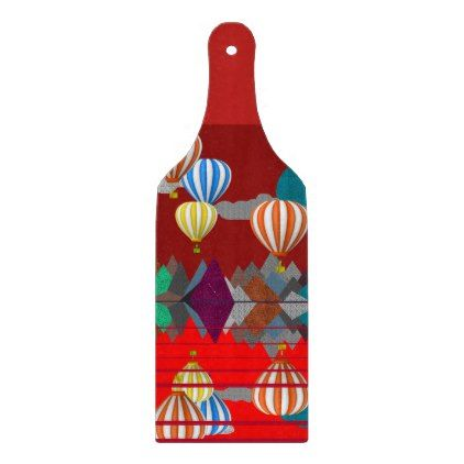 Hot Air Balloon Decorative Glass Chopping Board - personalize gift idea diy or cyo