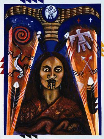 """June Grant  (Maori: Te Arawa, Tuwharetoa, Tuhourangi, Ngati Wahiao) - Ruahine Woman of Two Peoples , 2001, acrylic on canvas. 30"""" x 40"""""""