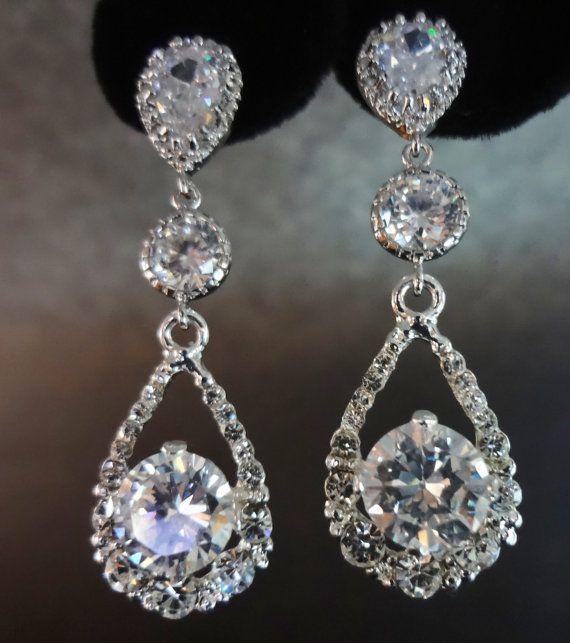 Like this kinda style better than 'leaves', 'flowers' etc Bridal Jewelry - Rhinestone earrings - long - teardrops -Brides earrings- Bridesmaids - Prom- gift - on Etsy, $63.23 AUD